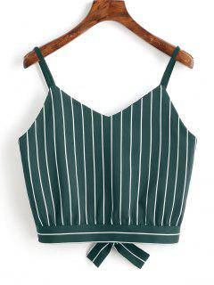 Camiseta Sin Mangas Cortadas Con Rayas Bowknot - Verde Oscuro S