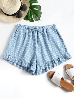 Polka Dot Ruffle Hem Shorts - Denim Blue M