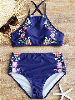 High Neck High Rise Floral Bikini Set - Deep Blue S
