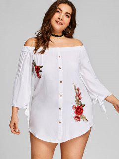 Off Shoulder Applique Faux Button Plus Size Dress - White 3xl