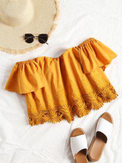 Crochet Panel Off Shoulder Top - Mustard M