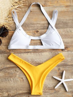 Cut Out High Leg Two Tone Bikini - Yellow L