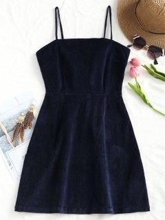Robe Courte En Velour Côtelé à Zip Derrière - Bleu Violet S
