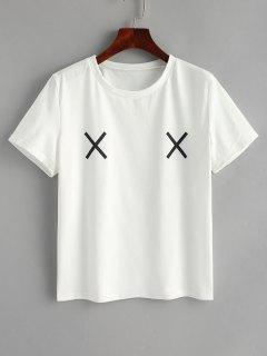 T-shirt Graphique Double Croisé - Blanc L