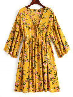 Lace Up Floral Mini Tunic Dress - Mustard M