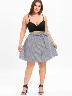 Plus Size Tied Bowknot Checked Skirt - Black White 2xl
