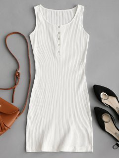 Knitted Snap Button Ribbed Bodycon Dress - White M