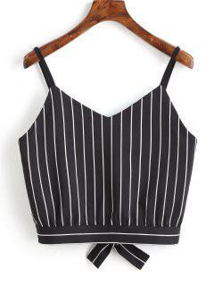 Bowknot Stripes Cut Out Cropped Tank Top - Black L