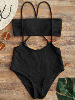 Bandeau Top Y Bikini De Cintura Alta Con Cordones Inferiores - Negro M