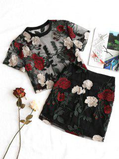 Floral Embroidered Mesh Blouse And Skirt Set - Black M