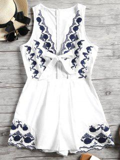 Floral Patched Sleeveless Plunge Romper - White L