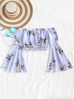 Cropped Floral Off Shoulder Top - Light Blue M