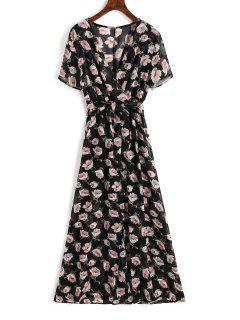Chiffon Floral Slit Maxi Dress - Floral M