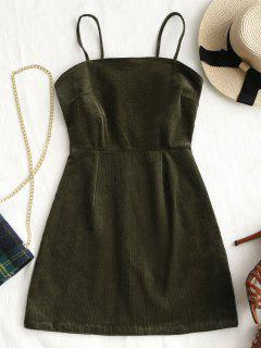 Back Zipper Corduroy Mini Dress - Army Green S