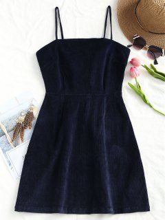 Back Zipper Corduroy Mini Dress - Purplish Blue M