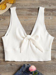 Plunging Neck Ribbed Crop Tank Top - White M