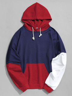 Pouch Pocket Color Block Hoodie Men Clothes - Red Xl