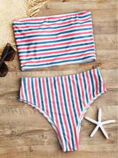 Striped Tube Top With High Cut Bikini Bottoms - Stripe L