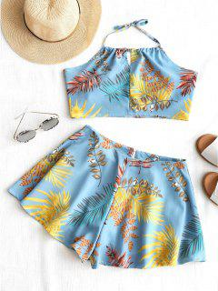 Backless Leaves Halter Top And Shorts Set - Light Blue L