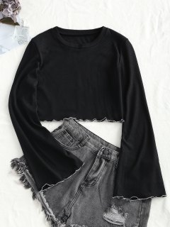 Knitted Flared Sleeve Lettuce Trim Top - Black S
