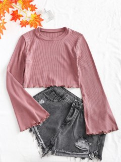 Knitted Flared Sleeve Lettuce Trim Top - Pink S
