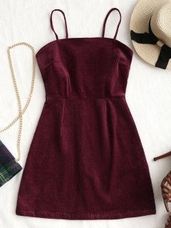 Back Zipper Corduroy Mini Dress - Wine Red M