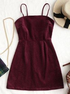 Robe Courte En Velour Côtelé à Zip Derrière - Rouge Vineux  M