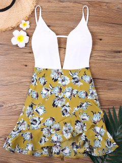 Floral Insert Low Cut Spaghetti Strap Dress - Xl