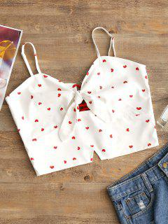 Lace Up Heart Print Crop Cami Top - White L