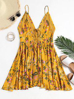 Vestido Sin Mangas De Cami Floral Con Paneles De Ganchillo - Terroso