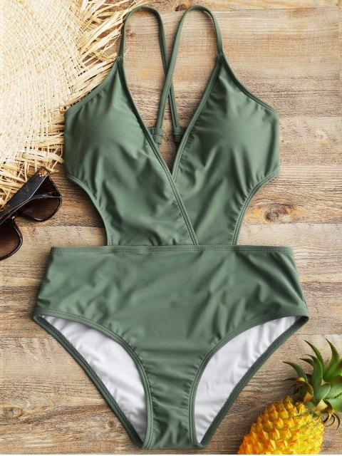 Entrepierna acolchada cruzada de una sola pieza traje de baño - Verde M Mobile