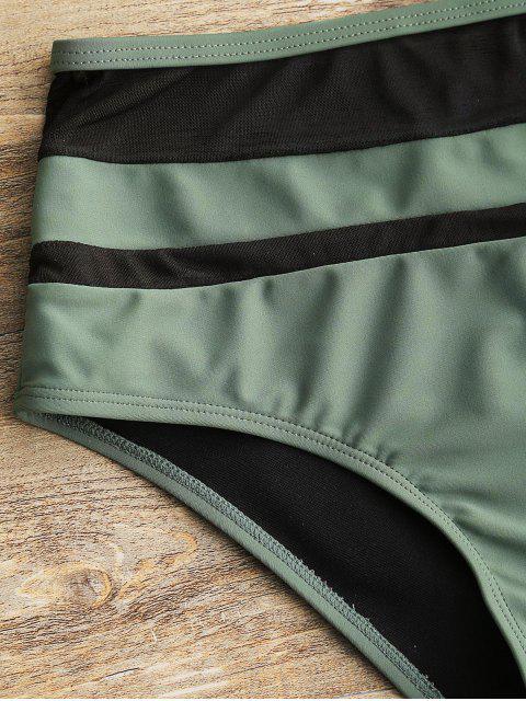 Traje de baño de cintura alta con inserción de malla transparente - Verde XL Mobile