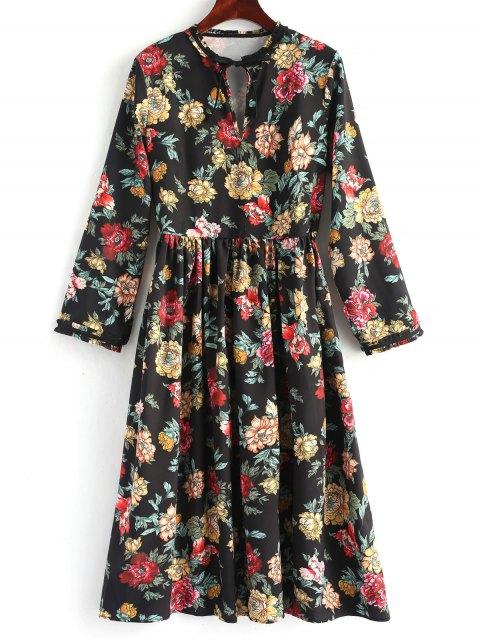 Robe mi-longue à manches longues à fleurs - Floral S Mobile