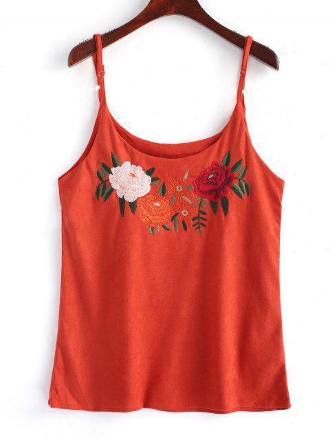 Blumen Besticktes Faux Wildleder Tank Top - Roter Zirkon M Mobile