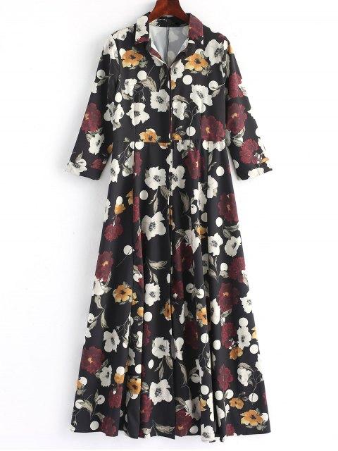 hot Button Up Floral Shirt Maxi Dress - FLORAL M Mobile