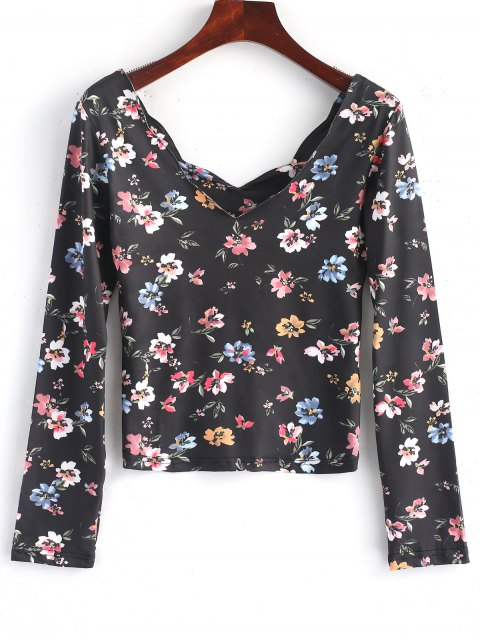 ladies Scalloped Long Sleeve Floral Top - FLORAL L Mobile