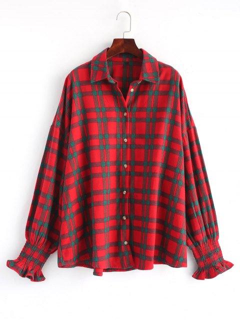 Smoked Sleeve übergroßes kariertes Hemd - Rot Eine Größe Mobile