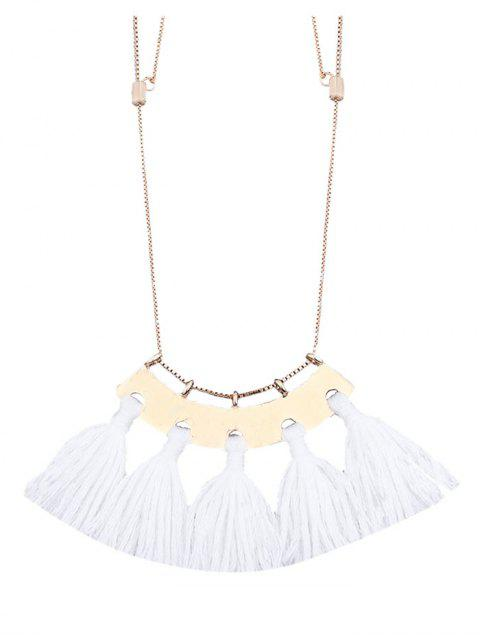 ladies Alloy Statement Tassel Pendant Necklace - WHITE  Mobile