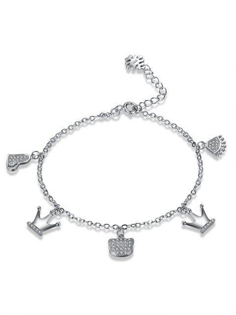Pulsera de plata del corazón de la corona del Rhinestone de la plata esterlina - Plata  Mobile