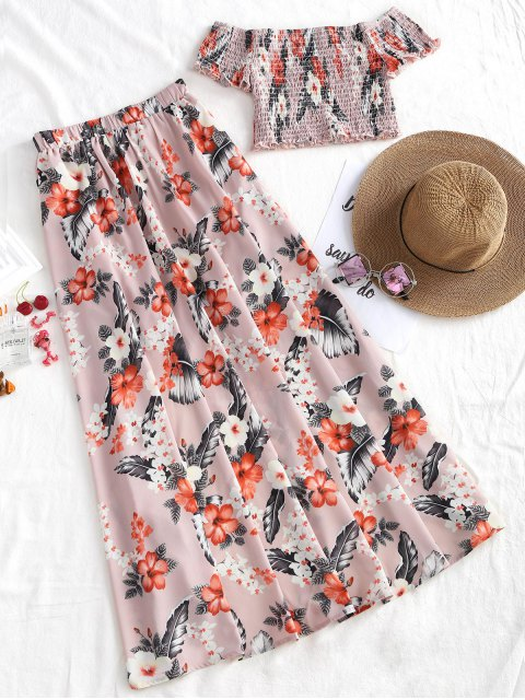trendy Off Shoulder Shirred Top and Asymmetrical Skirt Set - FLORAL M Mobile