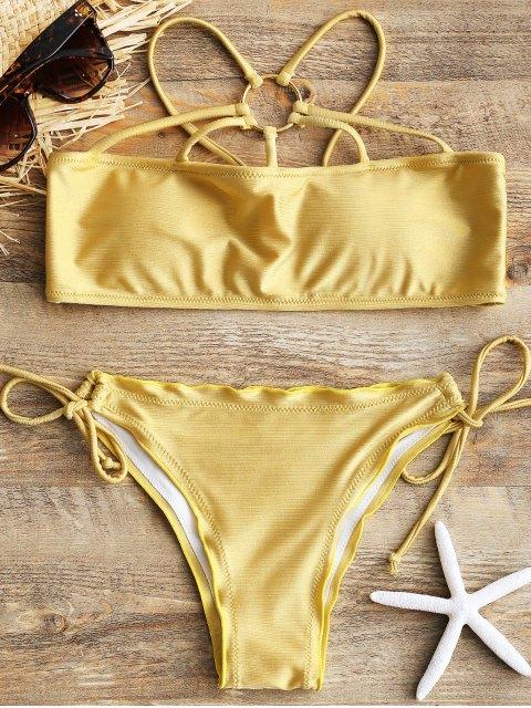 Set de bikini acolchado con cadena enjaulada brillante - Champagne Oro M Mobile