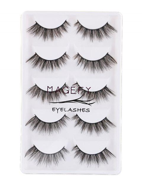 fashion 5Pcs Natural Thick Handmade Fake Eyelashes Kit - BLACK  Mobile