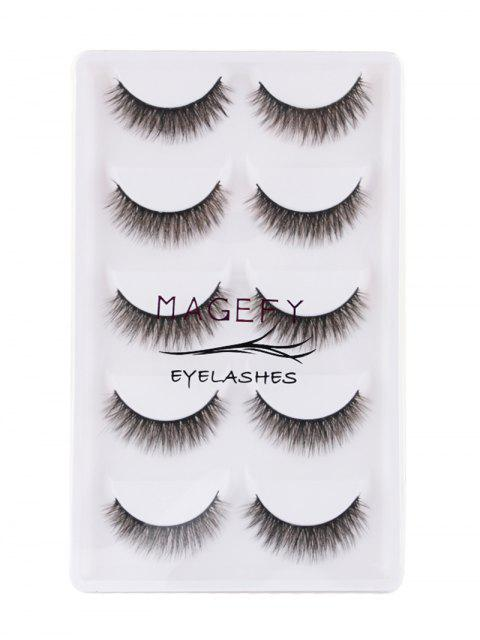 chic 5Pcs Natural Looking Volumizing Mink False Eyelashes - BLACK  Mobile
