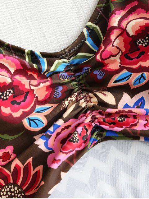 best One-piece Cut Out Zig Zag Floral Swimsuit - COLORMIX M Mobile