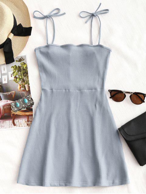 Mini vestido de punto acanalado - azul Piedra S Mobile