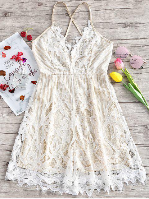 best Lace Scalloped Criss Cross Slip Dress - WHITE 2XL Mobile