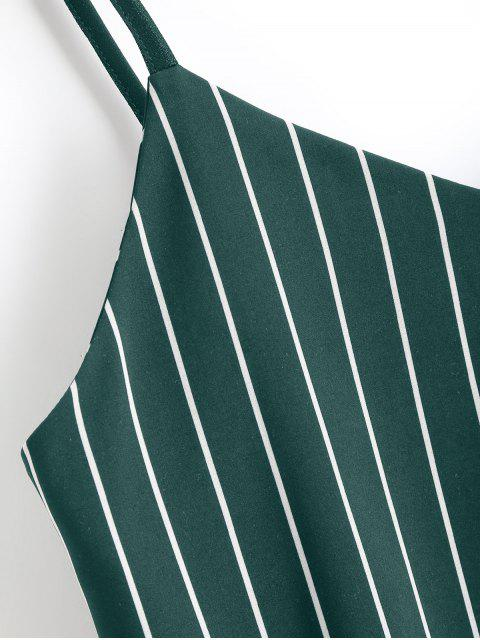 Camiseta sin mangas cortadas con rayas Bowknot - Verde Oscuro M Mobile