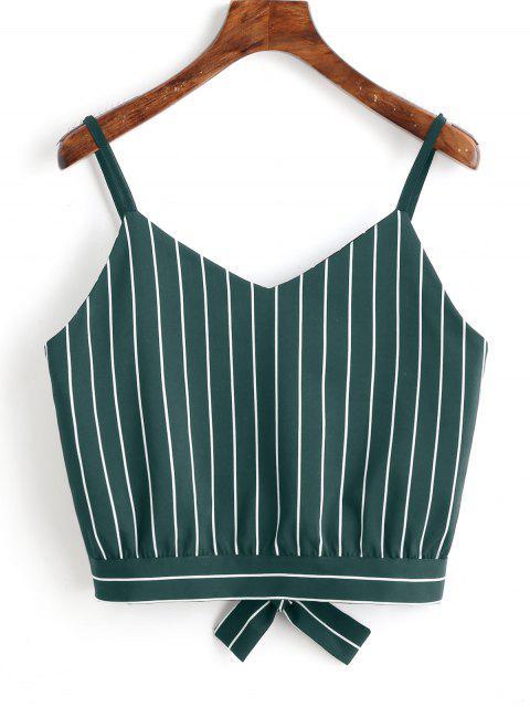 Camiseta sin mangas cortadas con rayas Bowknot - Verde Oscuro L Mobile