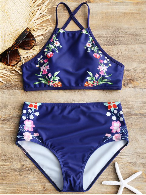 Hohe Ausschnitten hohe Taille Blumen Bikini-Set - Dunkel Blau S Mobile