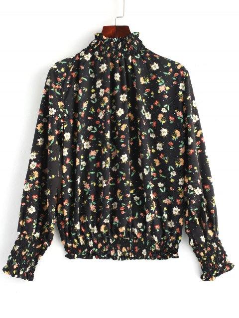 online Floral Frilled Shirred Blouse - FLORAL L Mobile